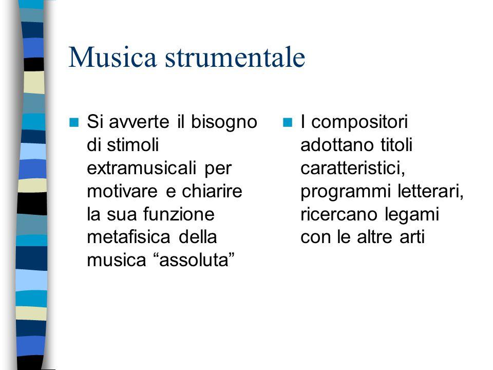Musica strumentale Si avverte il bisogno di stimoli extramusicali per motivare e chiarire la sua funzione metafisica della musica assoluta