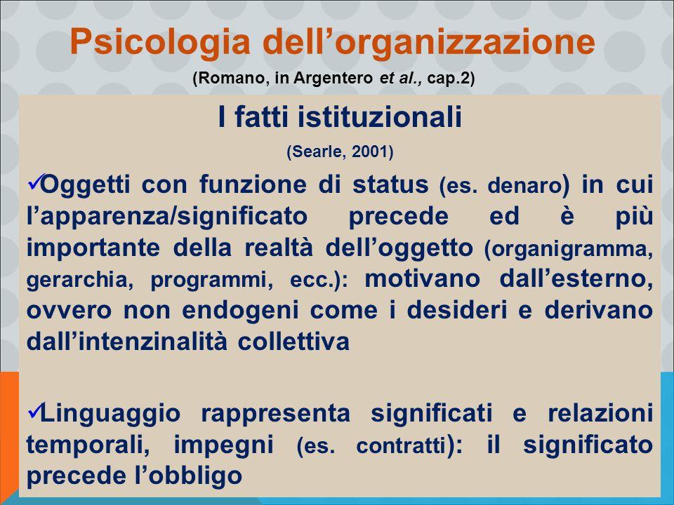 Psicologia dell'organizzazione (Romano, in Argentero et al., cap.2)