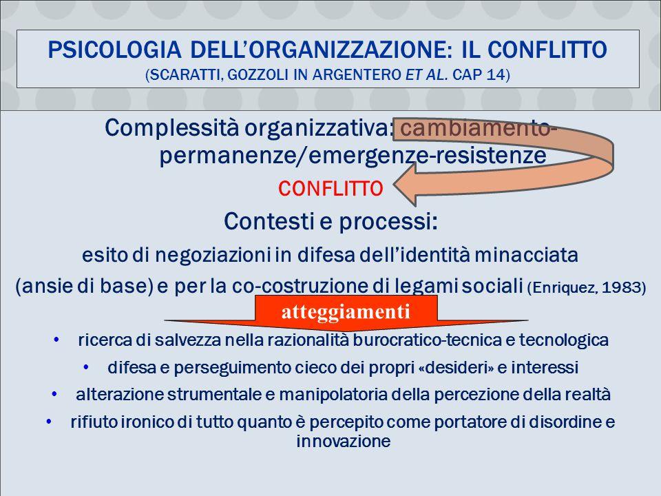 Psicologia dell'organizzazione: il conflitto (Scaratti, Gozzoli in Argentero et al. cap 14)