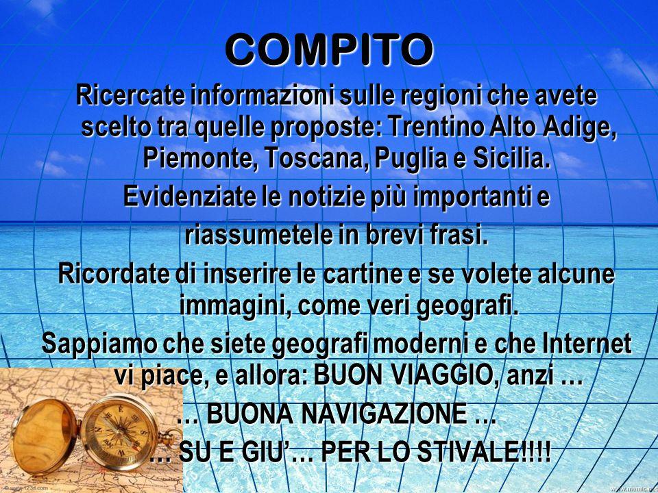 COMPITO Ricercate informazioni sulle regioni che avete scelto tra quelle proposte: Trentino Alto Adige, Piemonte, Toscana, Puglia e Sicilia.