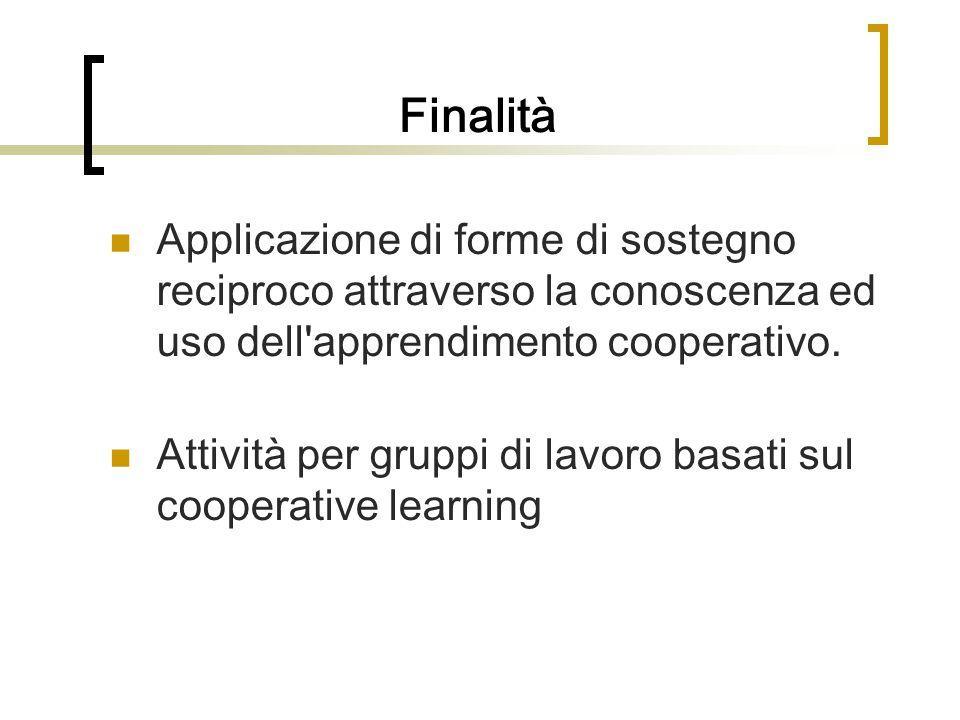Finalità Applicazione di forme di sostegno reciproco attraverso la conoscenza ed uso dell apprendimento cooperativo.