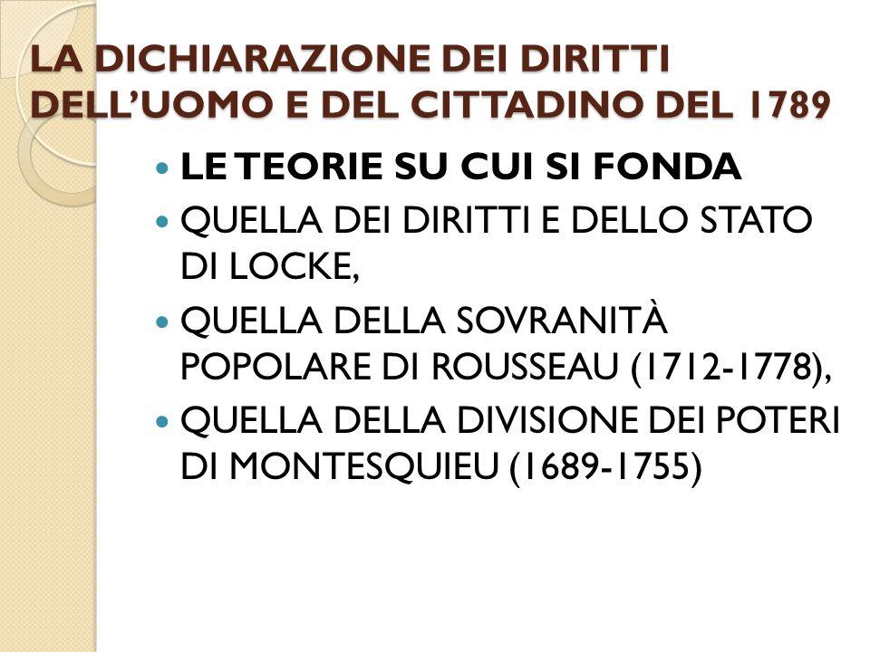 LA DICHIARAZIONE DEI DIRITTI DELL'UOMO E DEL CITTADINO DEL 1789