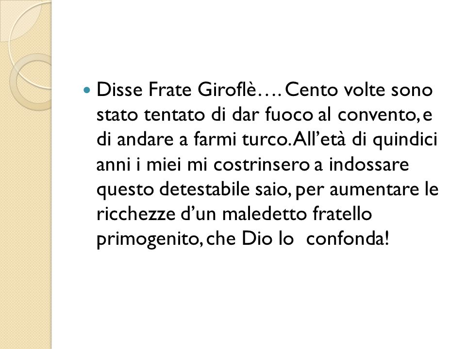 Disse Frate Giroflè….