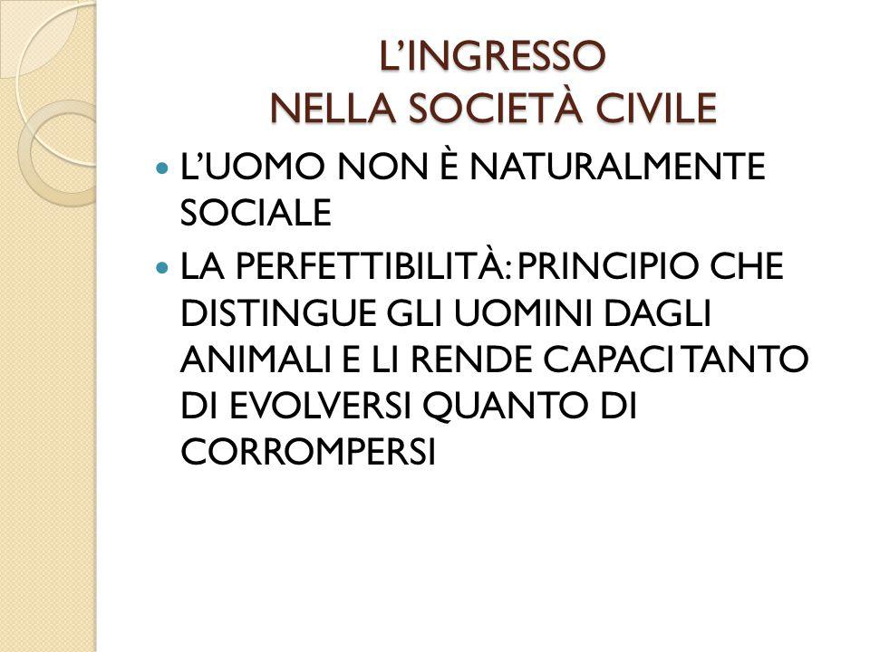 L'INGRESSO NELLA SOCIETÀ CIVILE