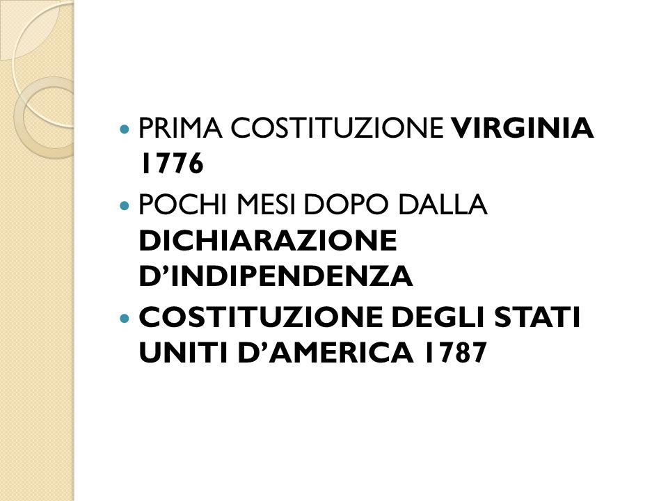 PRIMA COSTITUZIONE VIRGINIA 1776