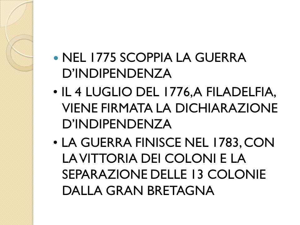 NEL 1775 SCOPPIA LA GUERRA D'INDIPENDENZA