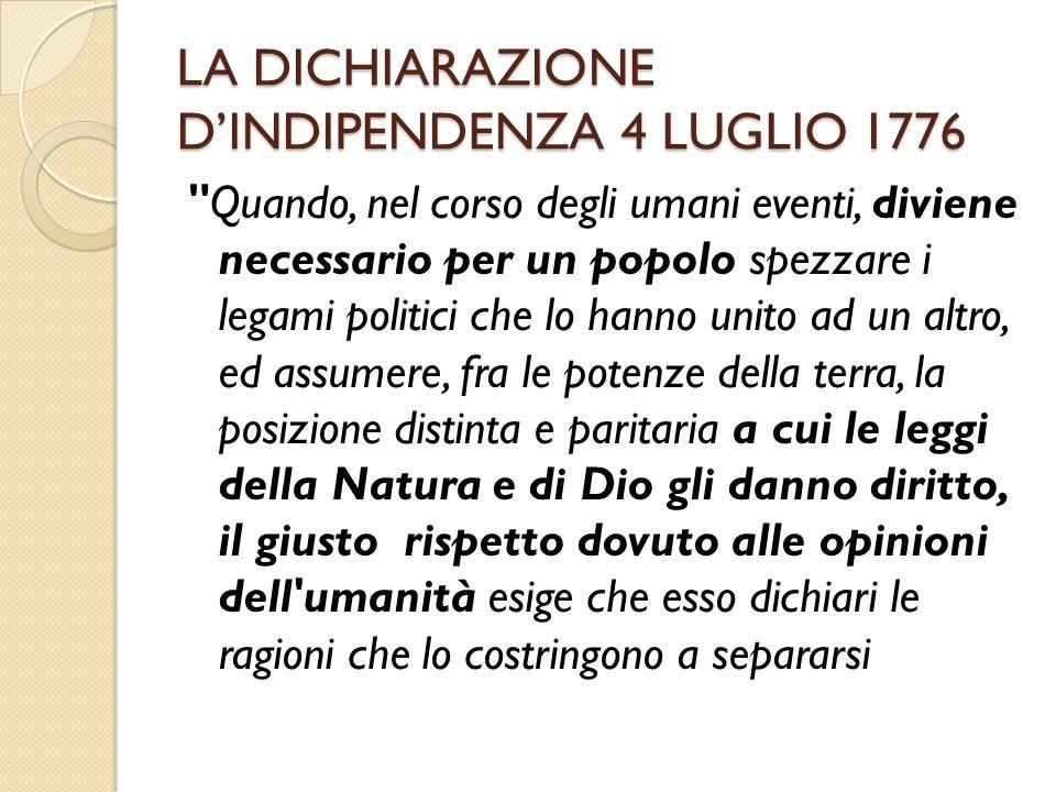 LA DICHIARAZIONE D'INDIPENDENZA 4 LUGLIO 1776