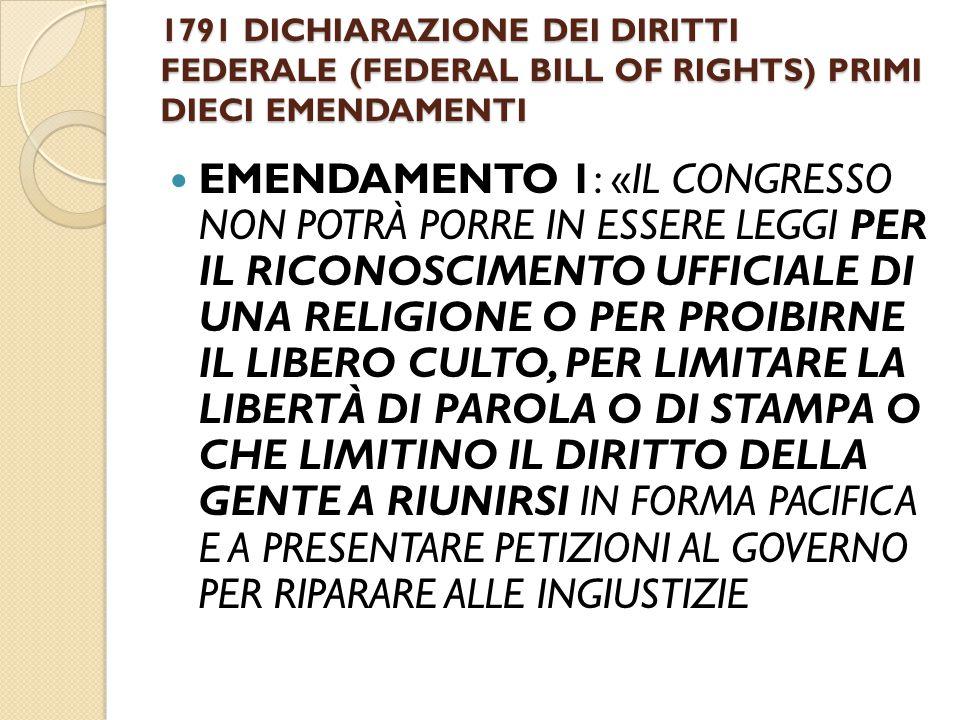 1791 DICHIARAZIONE DEI DIRITTI FEDERALE (FEDERAL BILL OF RIGHTS) PRIMI DIECI EMENDAMENTI
