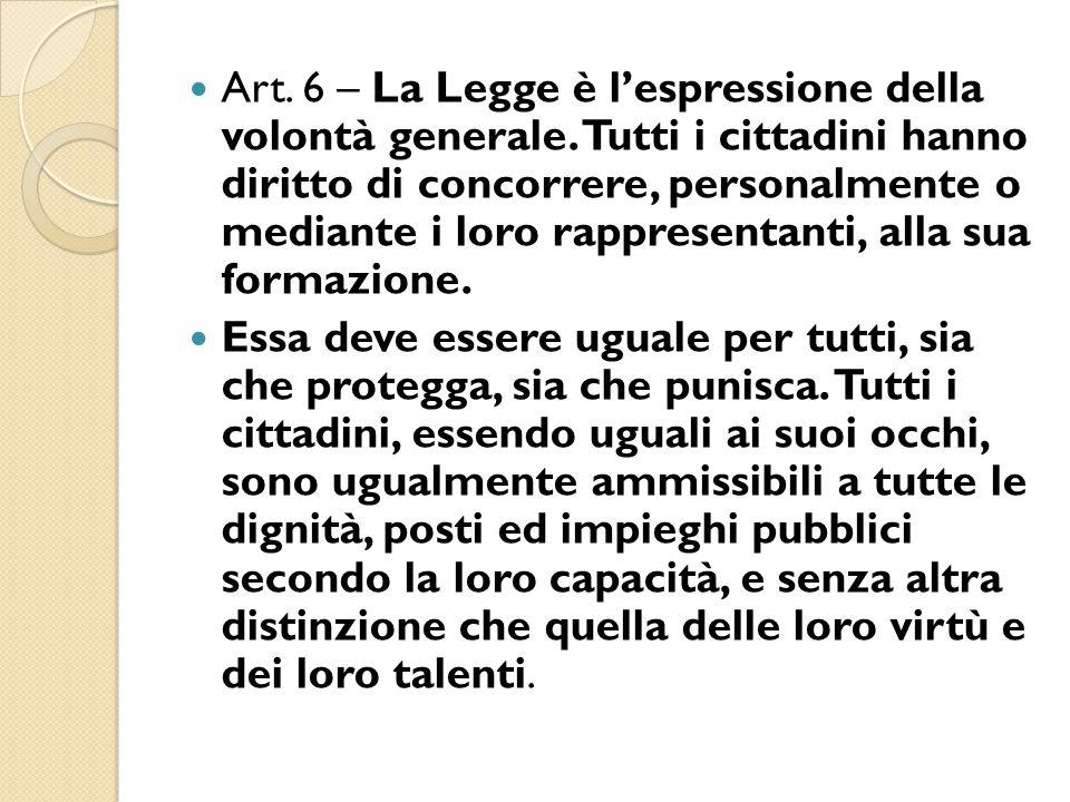 Art. 6 – La Legge è l'espressione della volontà generale