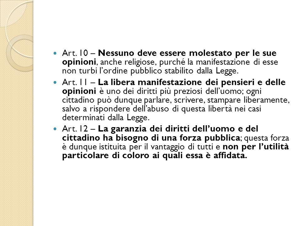 Art. 10 – Nessuno deve essere molestato per le sue opinioni, anche religiose, purché la manifestazione di esse non turbi l'ordine pubblico stabilito dalla Legge.
