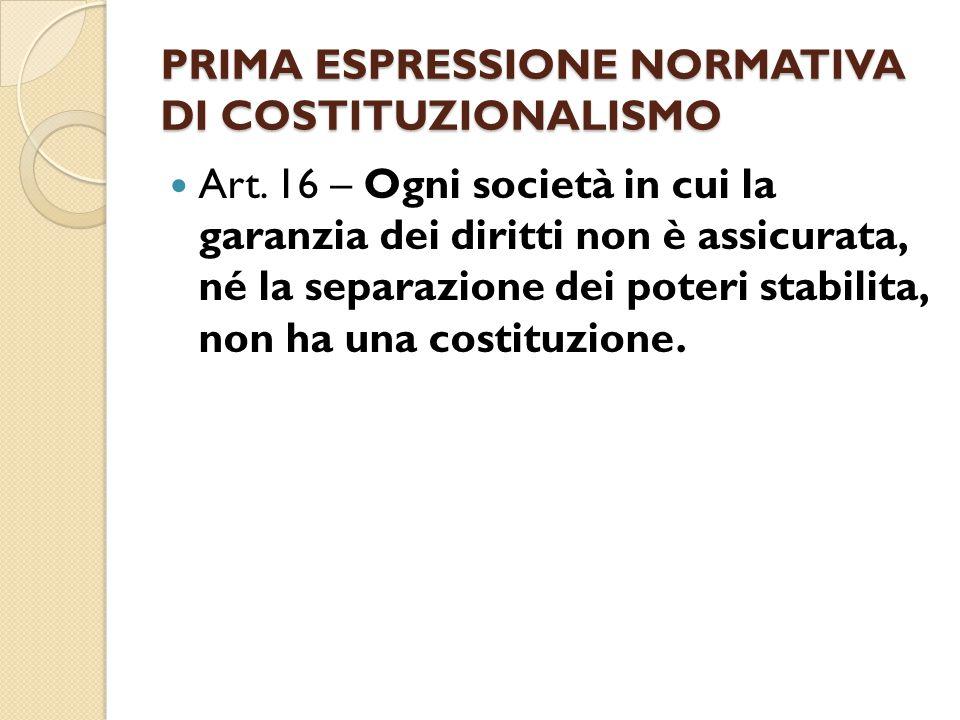 PRIMA ESPRESSIONE NORMATIVA DI COSTITUZIONALISMO