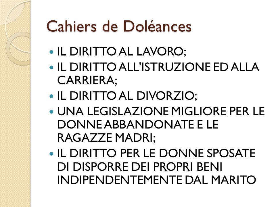 Cahiers de Doléances IL DIRITTO AL LAVORO;