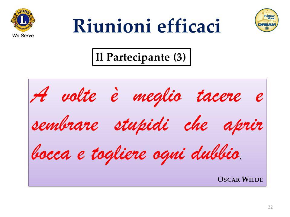 Riunioni efficaci Il Partecipante (3) A volte è meglio tacere e sembrare stupidi che aprir bocca e togliere ogni dubbio.