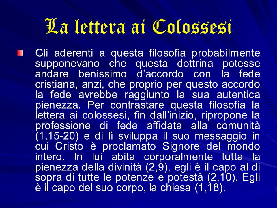 La lettera ai Colossesi
