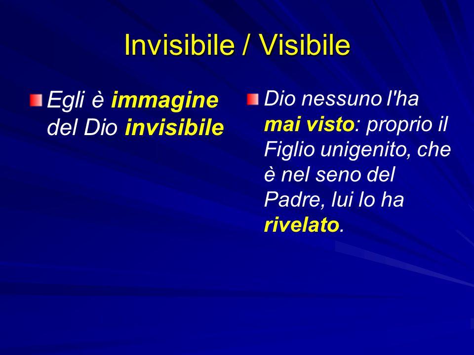 Invisibile / Visibile Egli è immagine del Dio invisibile