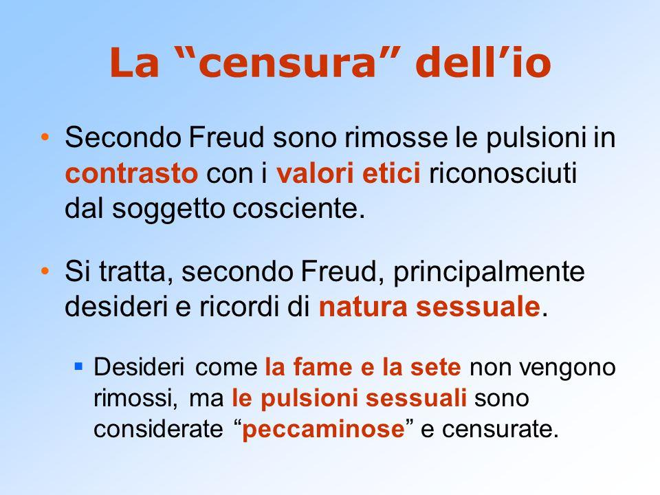 La censura dell'io Secondo Freud sono rimosse le pulsioni in contrasto con i valori etici riconosciuti dal soggetto cosciente.