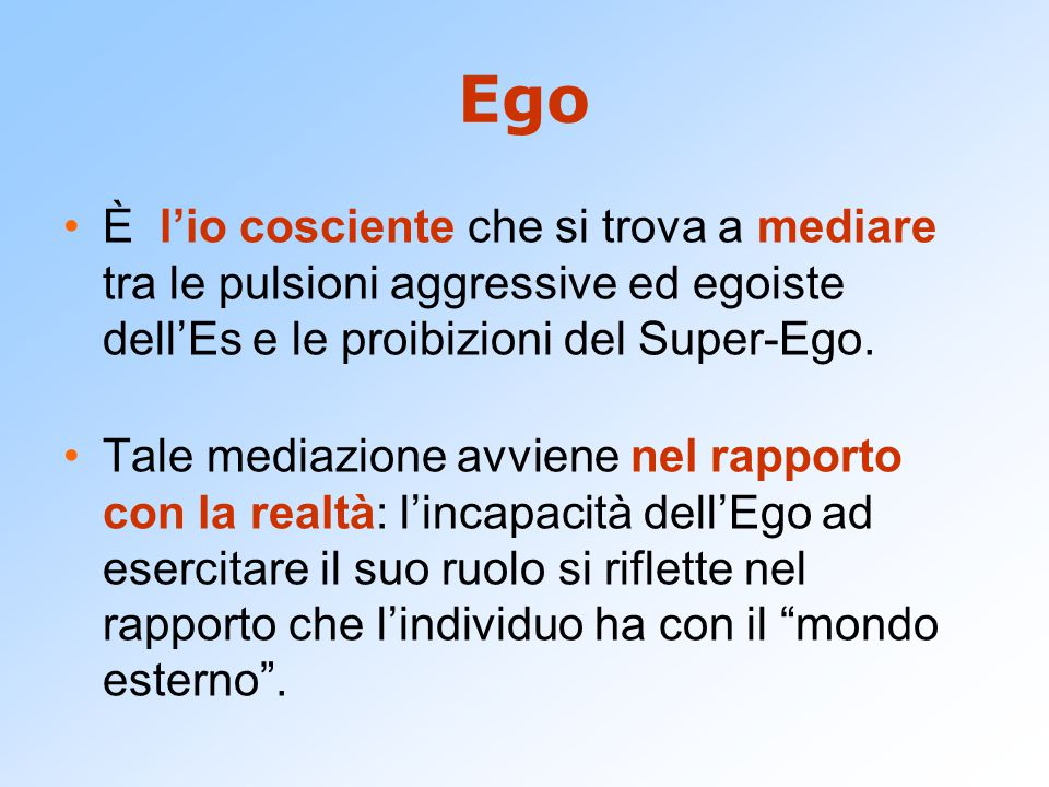 Ego È l'io cosciente che si trova a mediare tra le pulsioni aggressive ed egoiste dell'Es e le proibizioni del Super-Ego.
