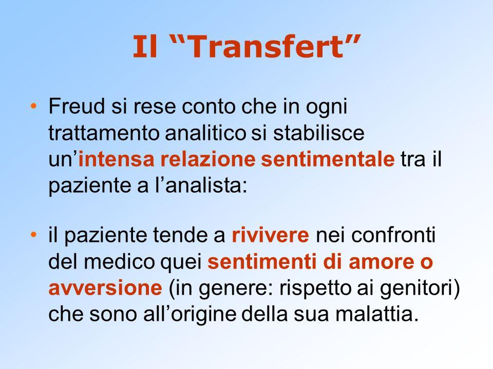 Il Transfert Freud si rese conto che in ogni trattamento analitico si stabilisce un'intensa relazione sentimentale tra il paziente a l'analista: