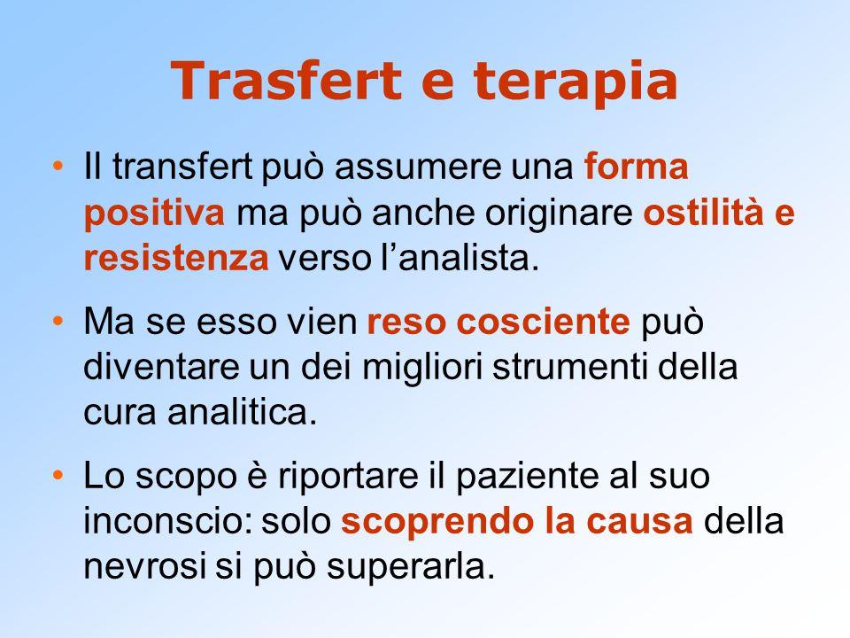 Trasfert e terapia Il transfert può assumere una forma positiva ma può anche originare ostilità e resistenza verso l'analista.