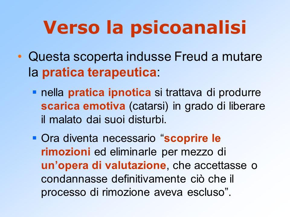 Verso la psicoanalisi Questa scoperta indusse Freud a mutare la pratica terapeutica: