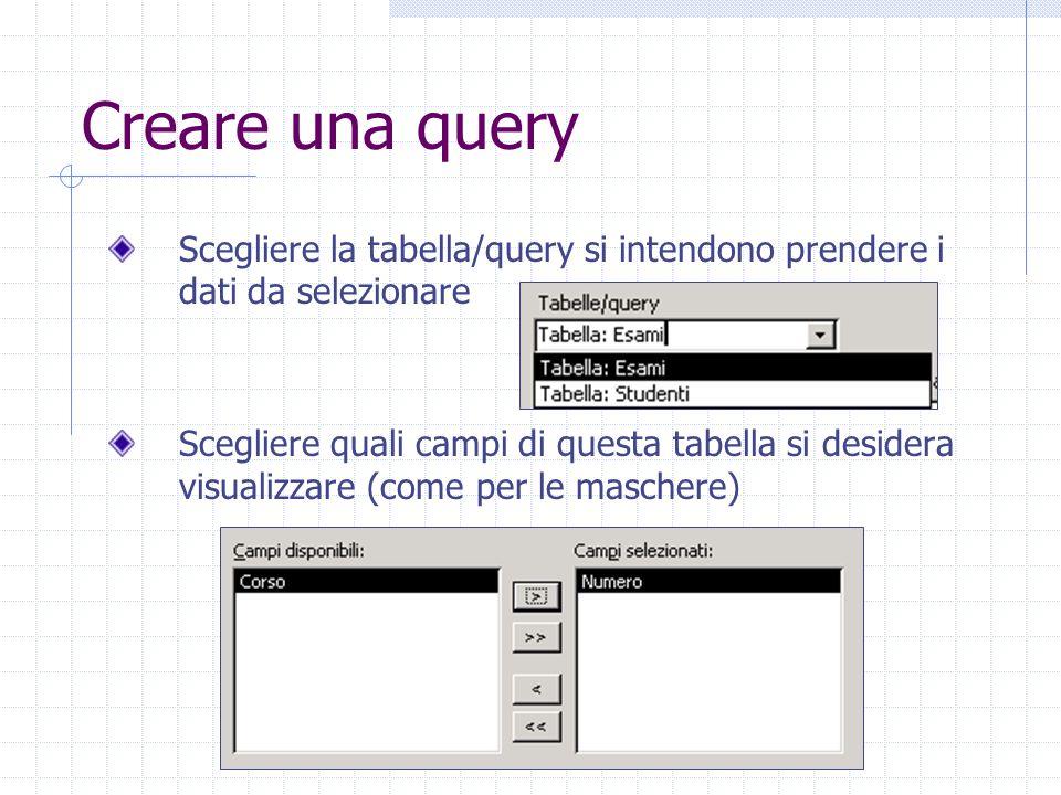 Creare una query Scegliere la tabella/query si intendono prendere i dati da selezionare.