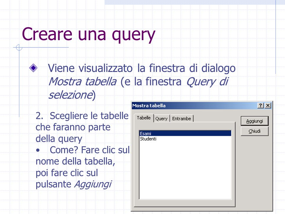 Creare una query Viene visualizzato la finestra di dialogo Mostra tabella (e la finestra Query di selezione)