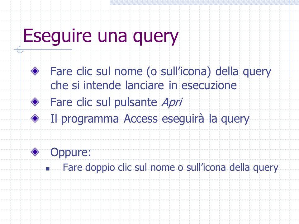 Eseguire una query Fare clic sul nome (o sull'icona) della query che si intende lanciare in esecuzione.