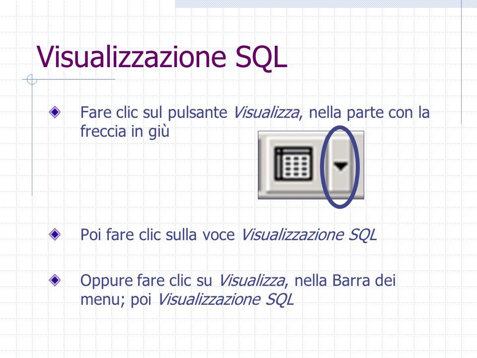 Visualizzazione SQL Fare clic sul pulsante Visualizza, nella parte con la freccia in giù. Poi fare clic sulla voce Visualizzazione SQL.
