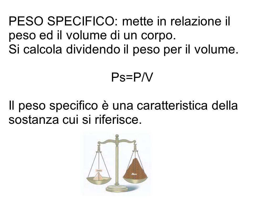 PESO SPECIFICO: mette in relazione il peso ed il volume di un corpo.