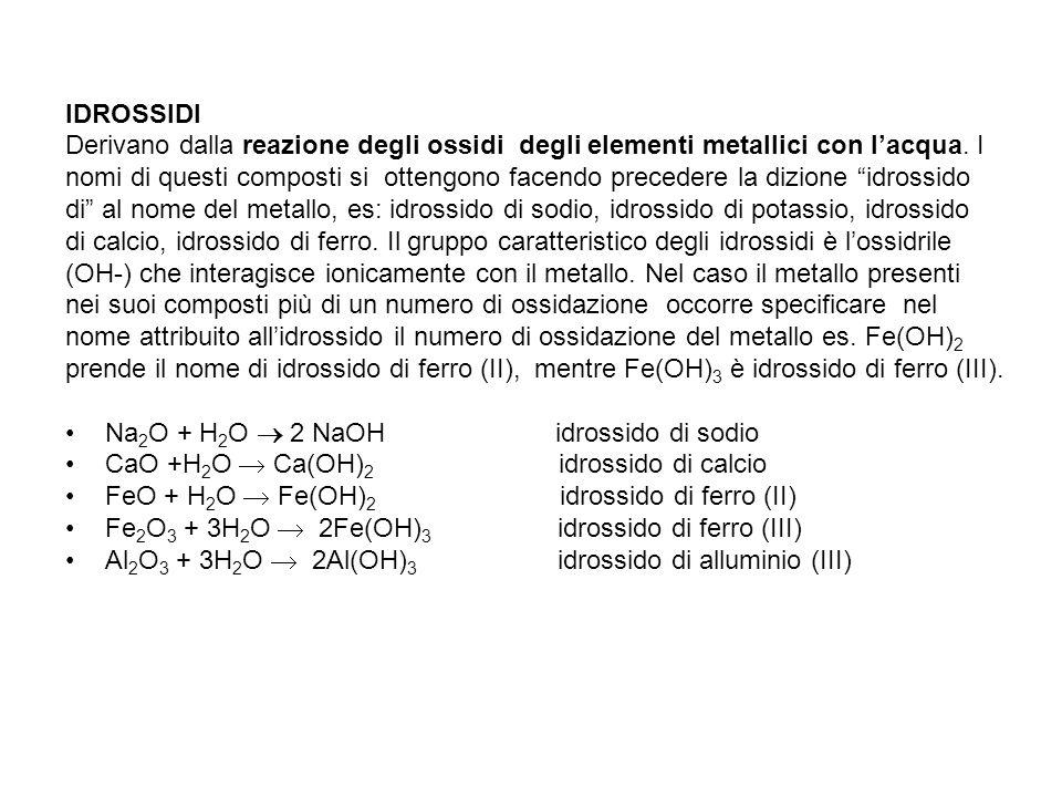 IDROSSIDI Derivano dalla reazione degli ossidi degli elementi metallici con l'acqua. I.