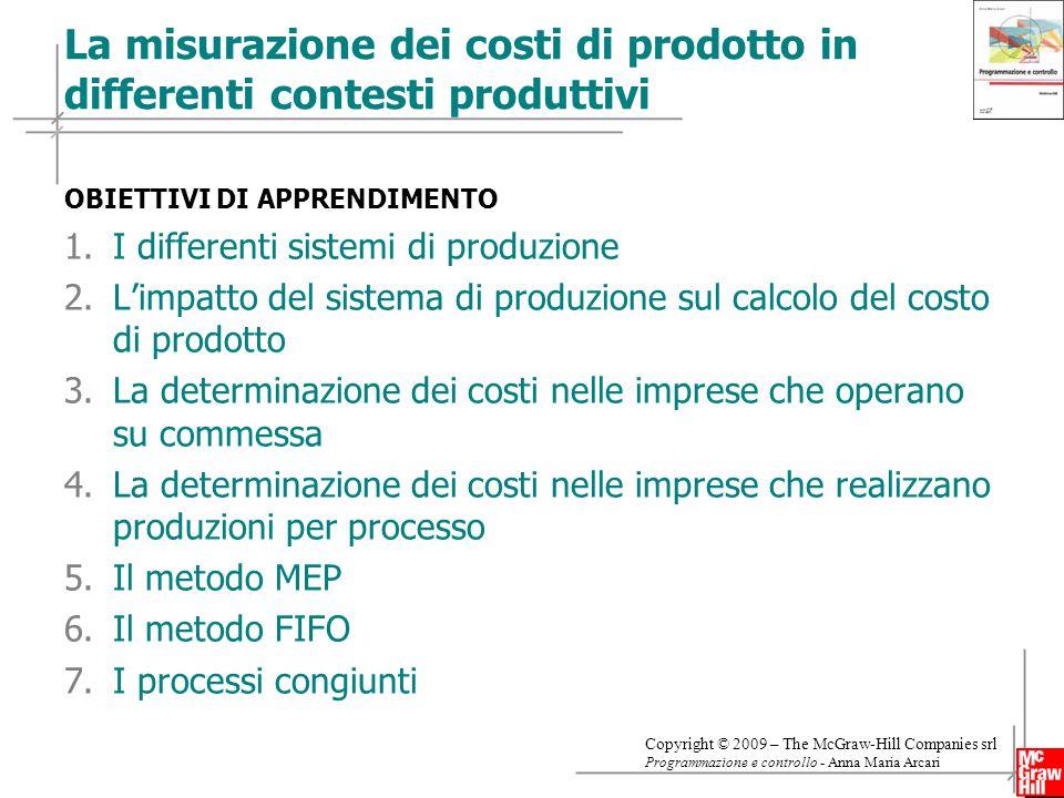 La misurazione dei costi di prodotto in differenti contesti produttivi