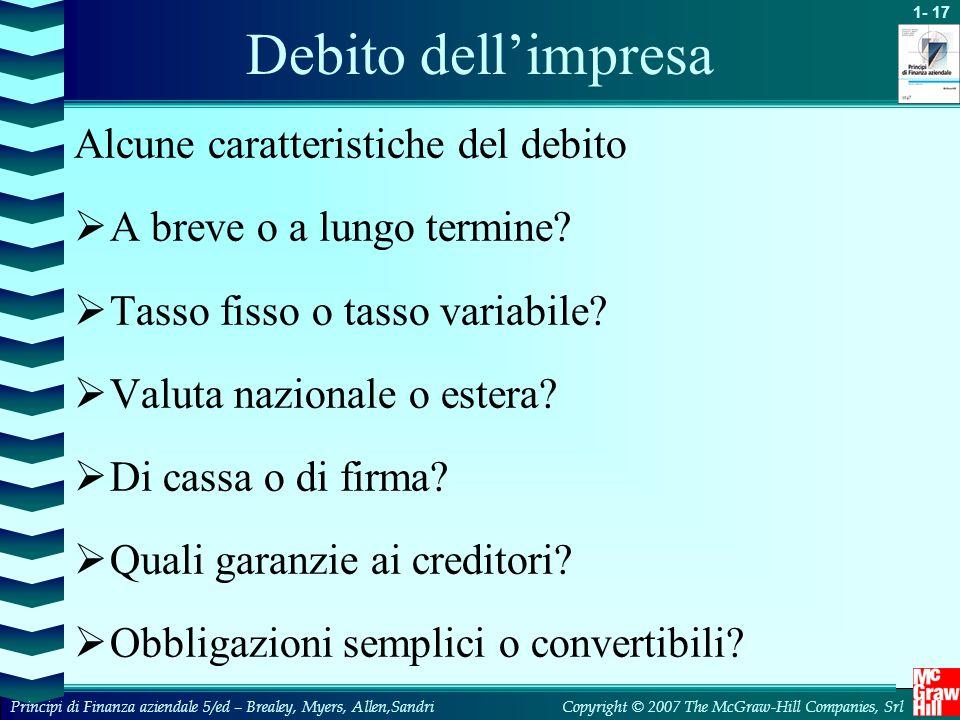 Debito dell'impresa Alcune caratteristiche del debito