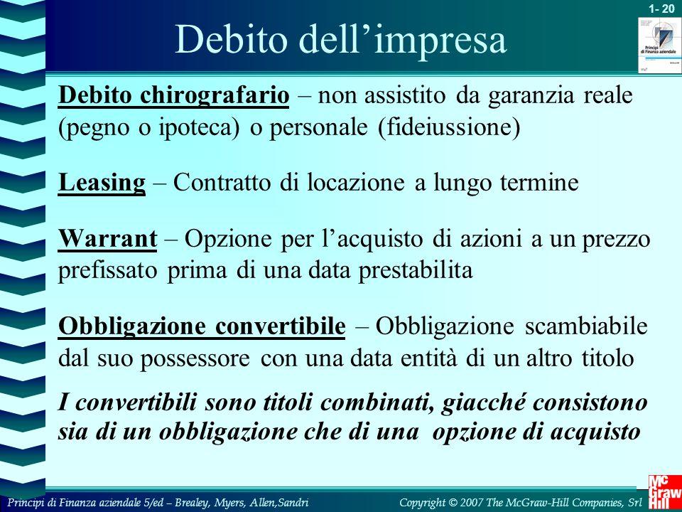 Debito dell'impresa Debito chirografario – non assistito da garanzia reale (pegno o ipoteca) o personale (fideiussione)
