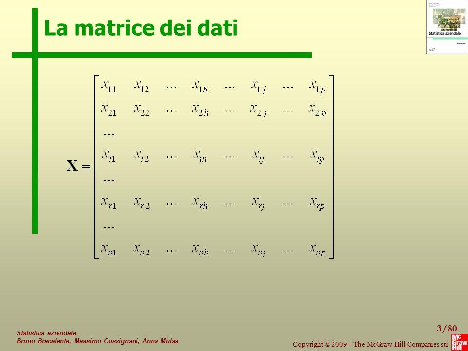 La matrice dei dati Statistica aziendale