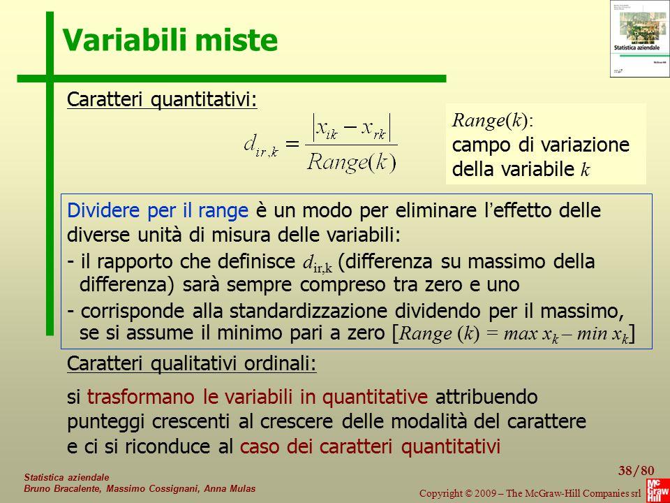 Variabili miste Caratteri quantitativi: Range(k):