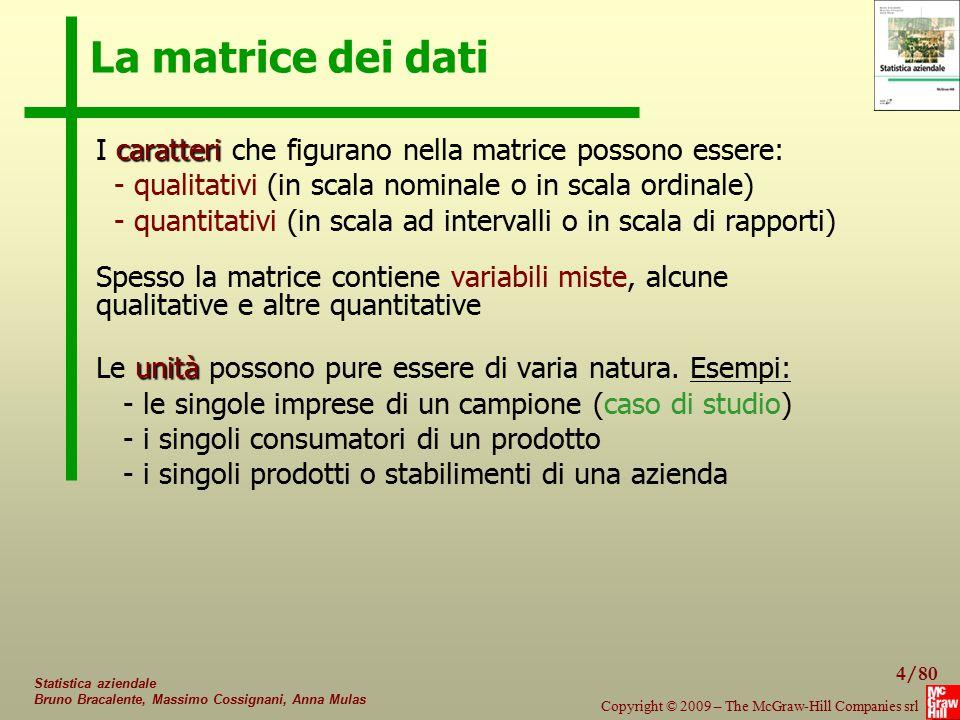La matrice dei dati I caratteri che figurano nella matrice possono essere: - qualitativi (in scala nominale o in scala ordinale)