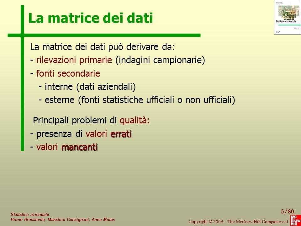 La matrice dei dati La matrice dei dati può derivare da: