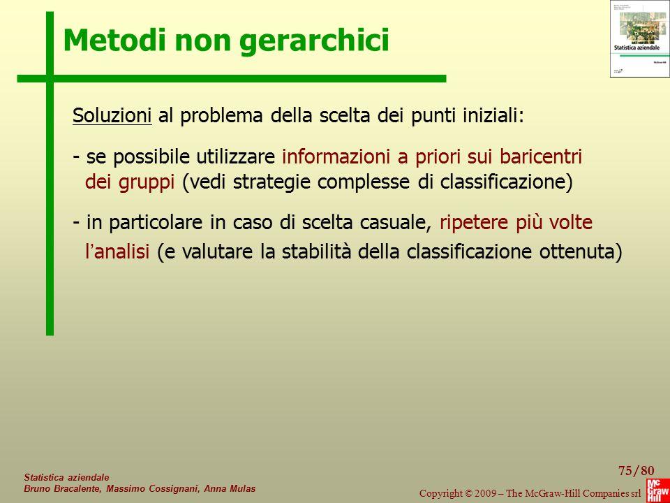 Metodi non gerarchici Soluzioni al problema della scelta dei punti iniziali: se possibile utilizzare informazioni a priori sui baricentri.