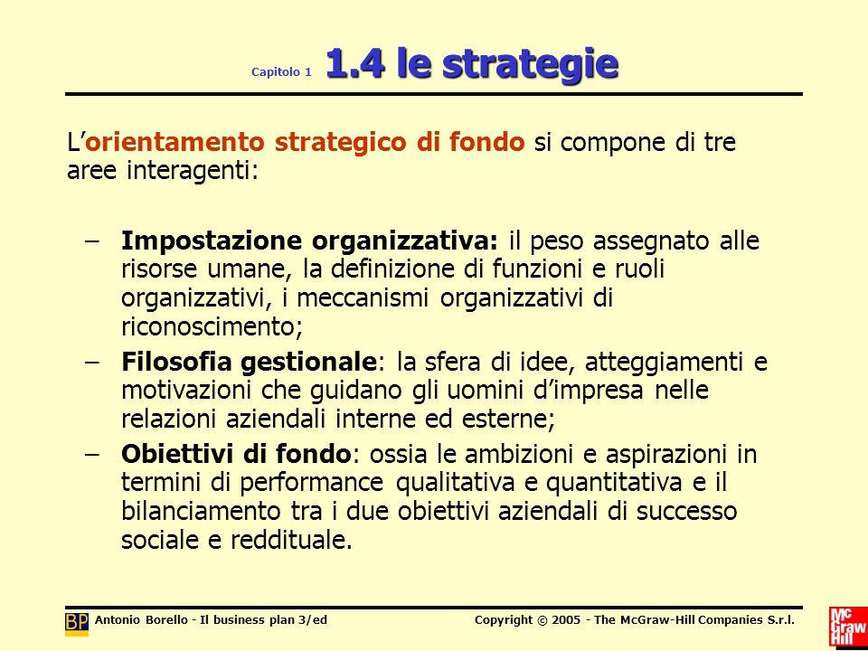L'orientamento strategico di fondo si compone di tre aree interagenti: