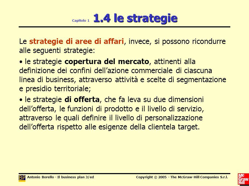 Capitolo 1 1.4 le strategie Le strategie di aree di affari, invece, si possono ricondurre alle seguenti strategie: