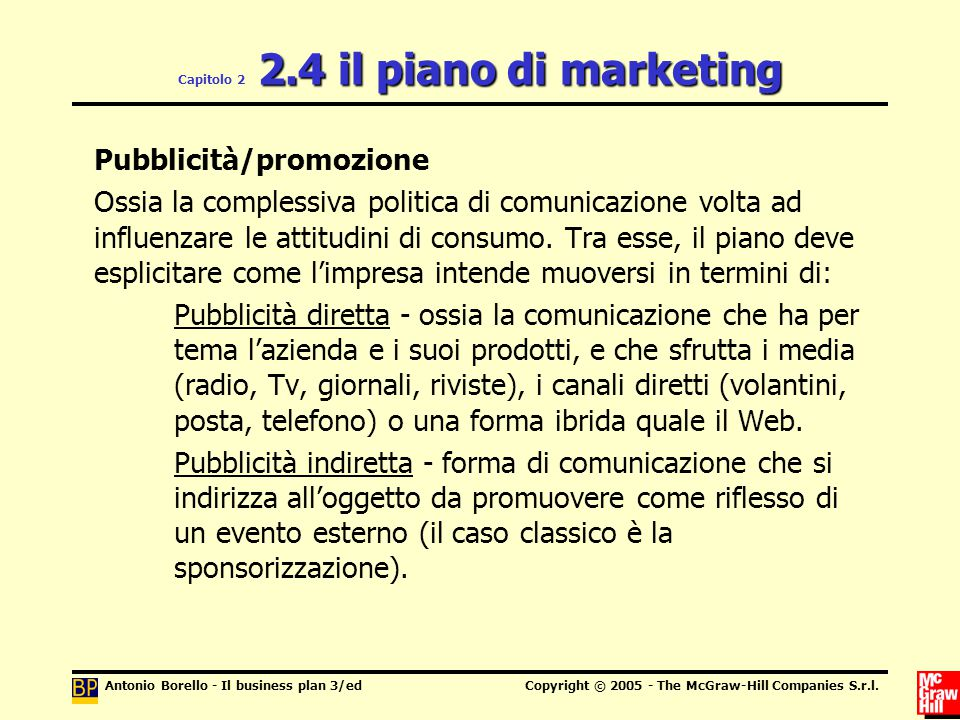 Capitolo 2 2.4 il piano di marketing