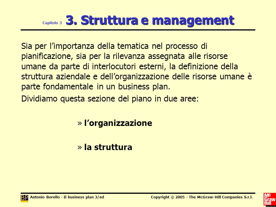 Capitolo 3 3. Struttura e management