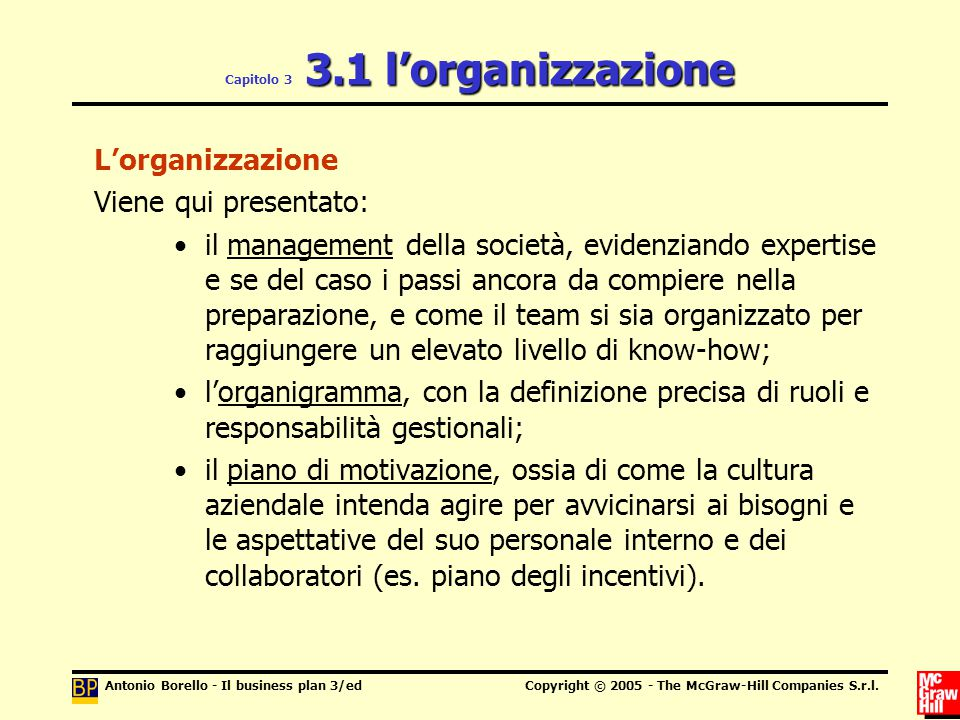 Capitolo 3 3.1 l'organizzazione