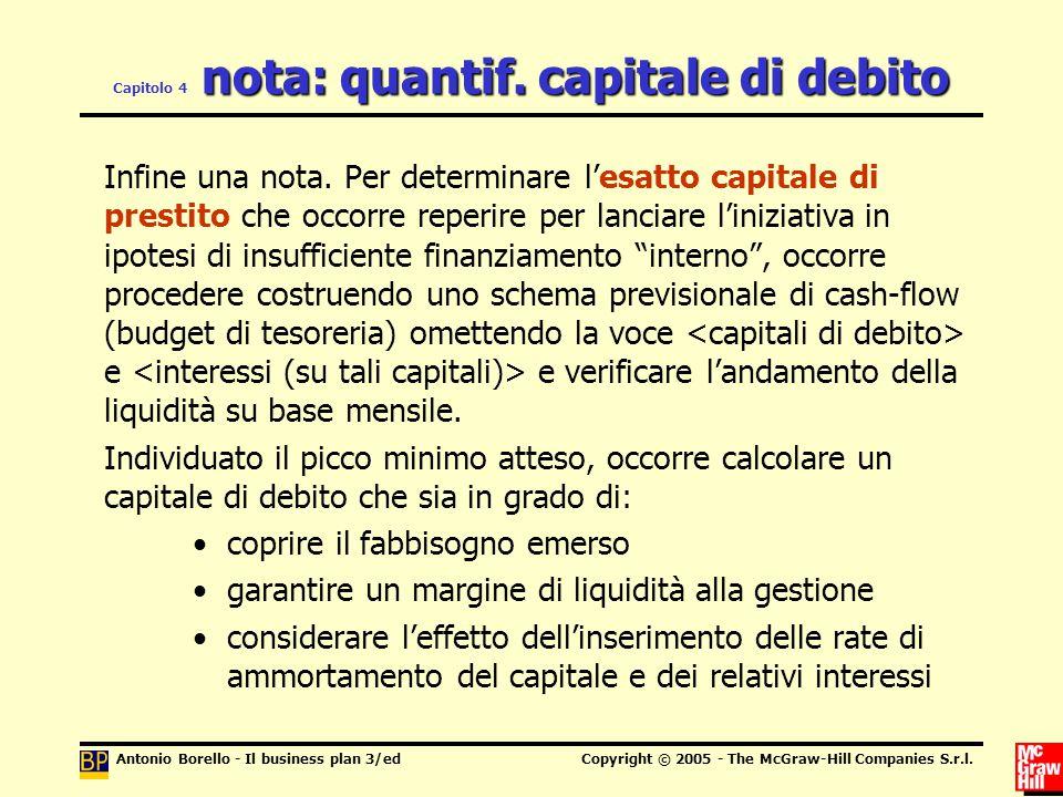 Capitolo 4 nota: quantif. capitale di debito