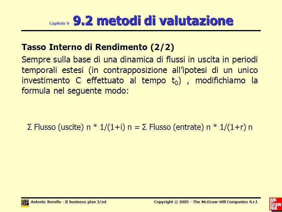 Capitolo 9 9.2 metodi di valutazione