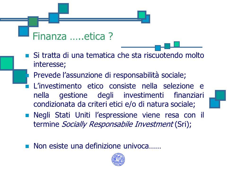 Finanza …..etica Si tratta di una tematica che sta riscuotendo molto interesse; Prevede l'assunzione di responsabilità sociale;