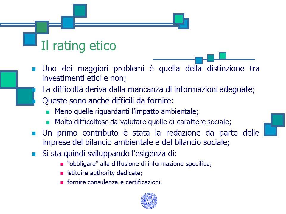 Il rating etico Uno dei maggiori problemi è quella della distinzione tra investimenti etici e non;