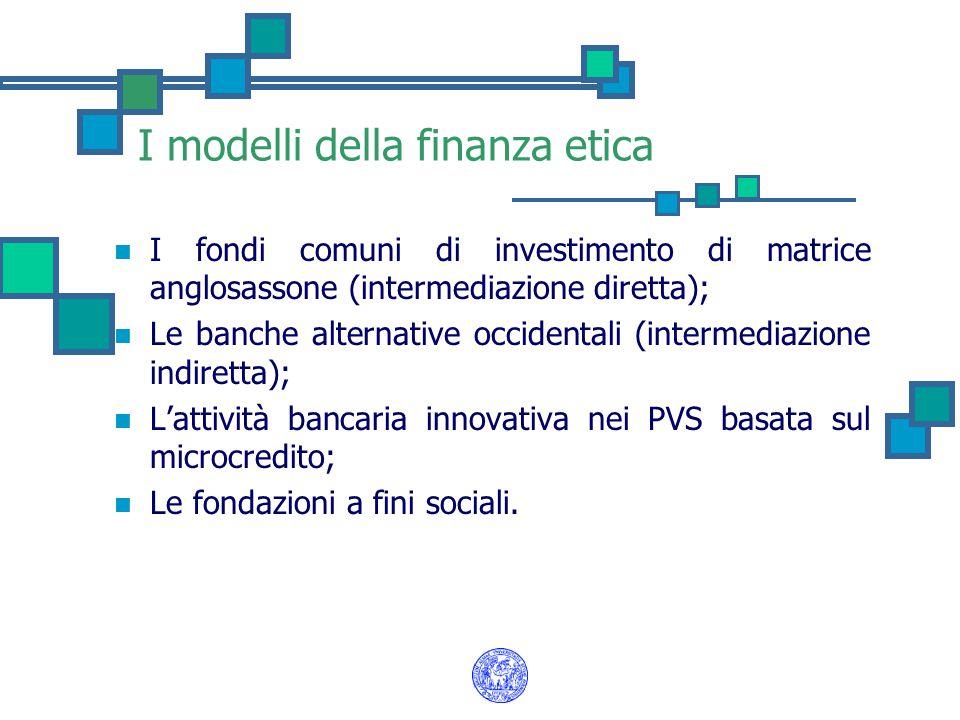 I modelli della finanza etica
