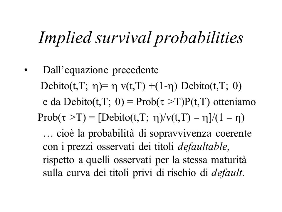 Implied survival probabilities