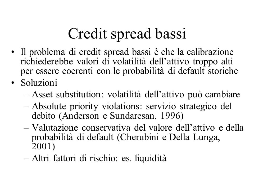 Credit spread bassi